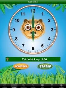 """Jungle tijd    Wat leert mijn kind:  Klokkijken  Cijfers  lezen    """"Tijd"""" is een App voor kinderen met een duidelijk educatief doel. Leren klokkijken. Er zijn 4 verschillende testjes om uit te kiezen.    klokkijken  klok zetten  noem verschil  zet verschil"""