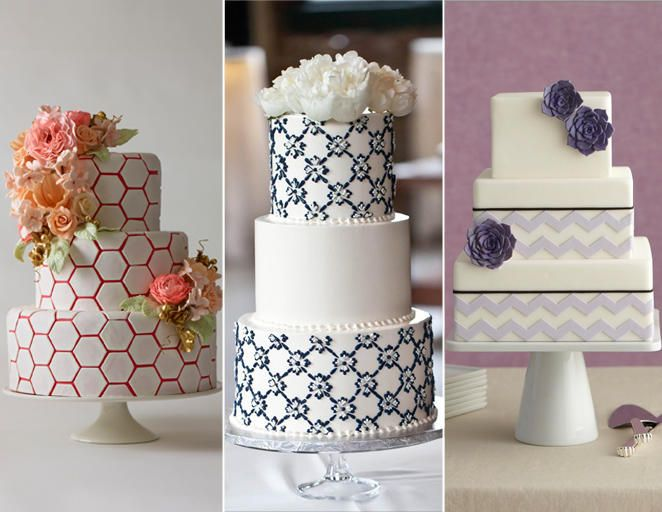 15 Hot Wedding Cake Trends | TheKnot.com Geometric cakes (especially the third one but with a bolder color)