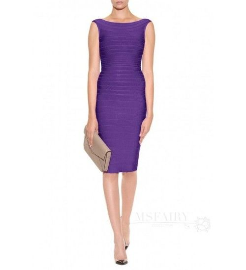 Dramatic Purple Boat Neckline Bandage Dress is Hot Selling at MsFairy.com ✿  ☻ ☻