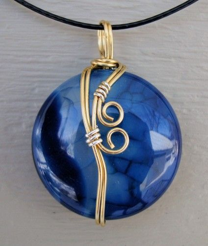 Blue Dragon Agate Wire Wrap Necklace Pendant
