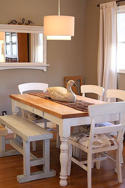 Love the table, and the chairs.  Wall color tent tan-Sherman Williams.    For the Kitchen