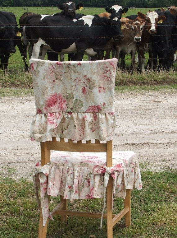 shabby chic chair slipcover by MyThymeCreations on Etsy, $65.00