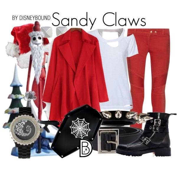 Sandy Claws by leslieakay on Polyvore featuring Chaser, Balmain, Zara, Chrome Hearts, Vince Camuto, Dolce&Gabbana, Christmas, disney, disneybound and disneycharacter