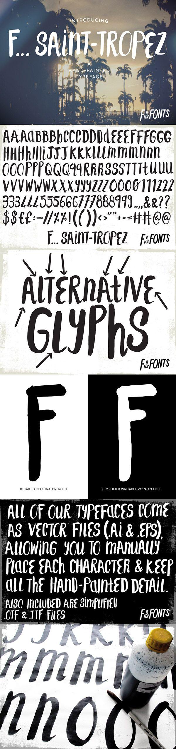 Saint Tropez Hand Painted Font.   spoongraphics.co.uk