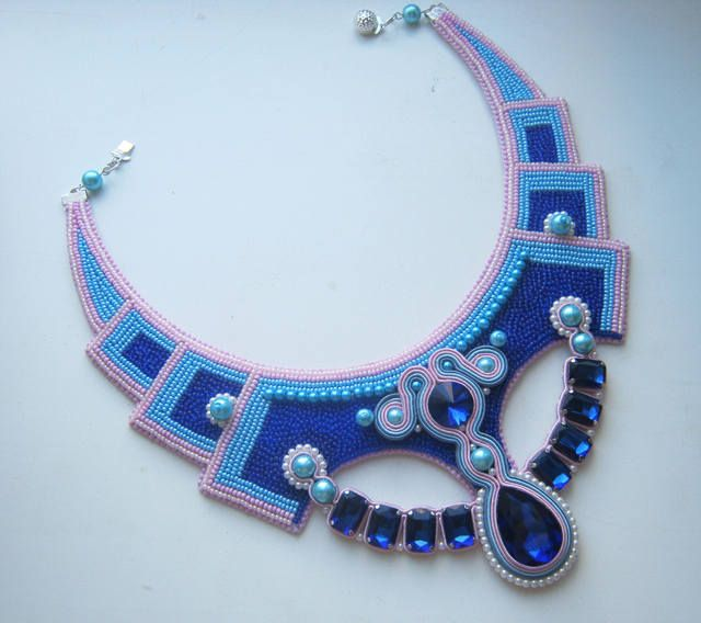 Bead embroidery necklace with soutache