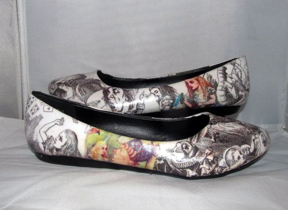Alice in Wonderland Flats in Black and White featuring Original Sketches by John Tenniel - Made to Order