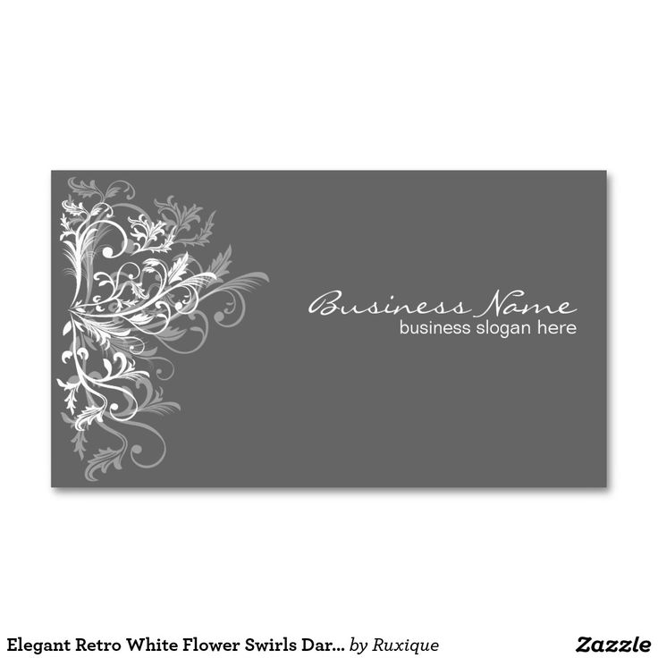 Elegant Retro White Flower Swirls Dark Grey Business Cards