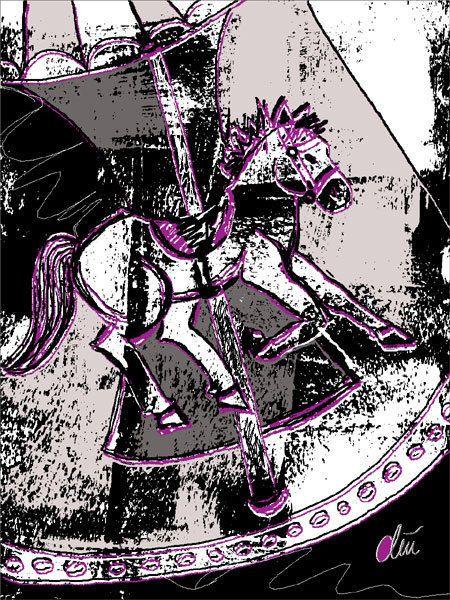 JACQUELINE DITT - Karoussellpferd  limit.Original Grafik signiert xx Bilder Tier