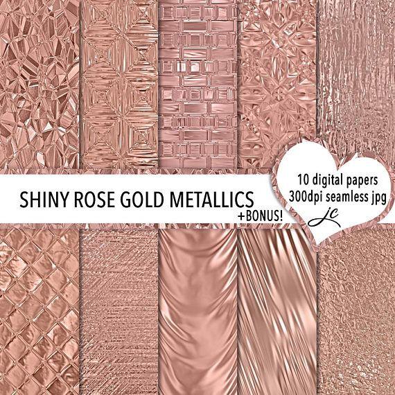 Shiny Rose Gold Metallics Digital Papers  BONUS Photoshop