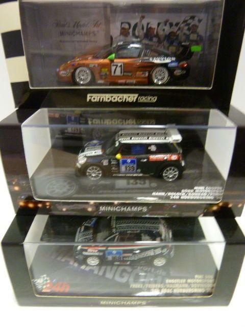 Minichamps - Schaal 1/43 - 24h races - Porsche 911 2005 Fiat Cinquecento 2008 & Mini Cooper 2011 - ADAC 24h Nurburgring  1:43 Minichamps 403056271 - Porsche 911 (997) GT3 - Farnbacher Racing - #71 - Winner 24h Daytona 2005 - Henzler / Farnbacher / Ehret / Price437081268 - Fiat 500 - Engstler Motorsport - #168 24h Nurburgring 2008 - Freke/Friberg/Haumann/Bovingdon437112139 - Mini Cooper - Dorr Motorsport - #139 24h Nurburgring 2011 - Hahn/Holoch/Konrad/PennoMateriaal Resin (Porsche is…