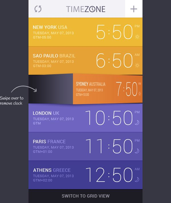 Time Zone App | #ui #design #flatui