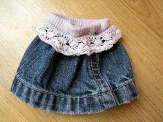 * Poupées Cheries Dolls *: Tuto pour une jupe en jeans trop facile - Super easy jeans skirt to sew