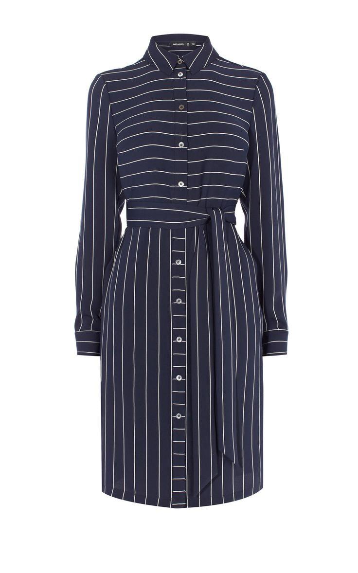 Платье-рубашка в полоску Karen Millen. Цвет ,  купить за 19760р в официальном интернет магазине karenmillen.ru с доставкой по России
