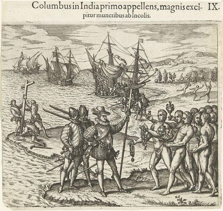 """The engraving by Theodore de Bry, from 1592, which formed part of his """"America-series"""", showing Christopher Columbus landing on the Caribbean island of Hispaniola in 1492"""