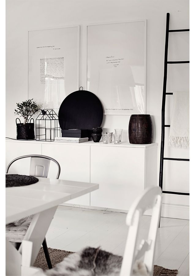 Copycat High-Lo by IKEA. This room could be reproduced: 3 BESTA wall cabinets $18(approx) 3, Extendable Ingatorp dinning room table w/4 chiars $525, Angenam black/gold bowl $20, Ladder (new at IKEA) ladder PS2014, Greenhouse (new at IKEA) $30, 2 FJALLSTA pictures including frame $90, ALVINERUTA flatwoven rug $249. All small accessories could be purchased for a song at IKEA.