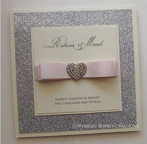 Silver Glitter Wedding Invitation With Satin Ribbon And A Diamante Heart  Embellishment In Blush Pink #