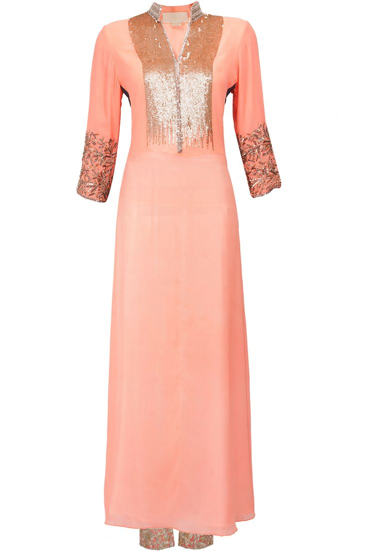 Peach and grey sequins embroidered kurta set available only at Pernia's Pop-Up Shop.