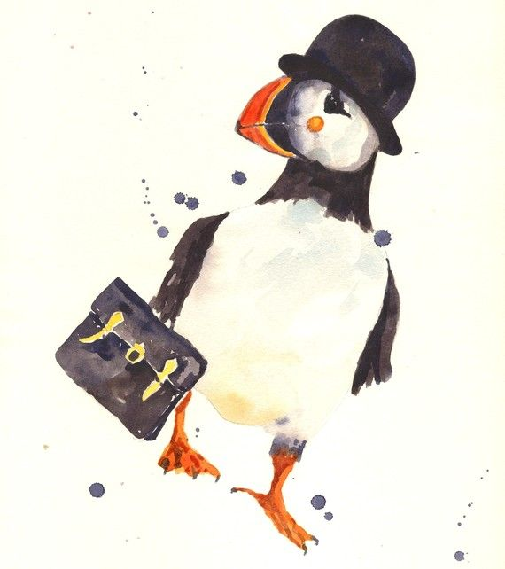 Office art PUFFIN Print 8x10 Peter Premium Bond by eastwitching, $16.00