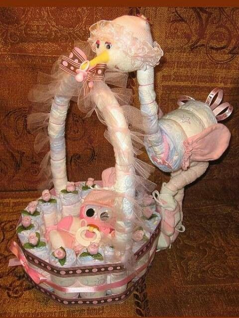 Diaper stork, basket, and baby