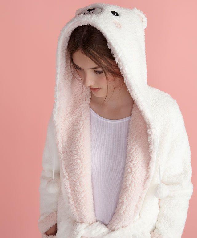 Robe de chambre ours pompons - OYSHO
