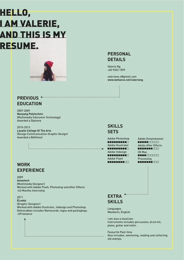 Resume by Valerie Ng, via Behance