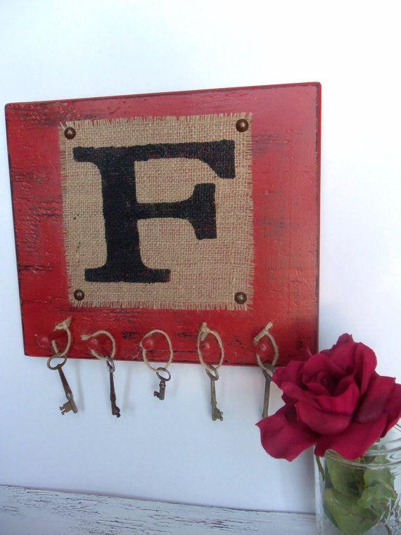 Monogram F wall hooks burlap letters A  Z worn by OldAndNewShoppe