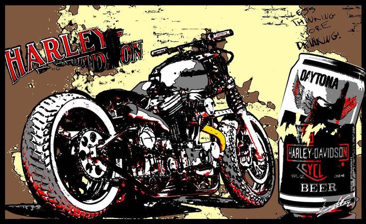 Tableau peinture moto Harley Davidson Bobber moderne est un tableau Harley Davidson peint à l'acrylique.
