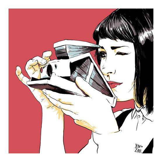 macchina fotografica, disegno, ragazza, illustrazione, jean zapata