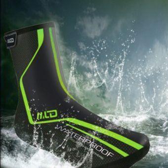 ER calzado resistente al agua LF-1012 cubre el ciclismo cdigo M un par verde-rosado