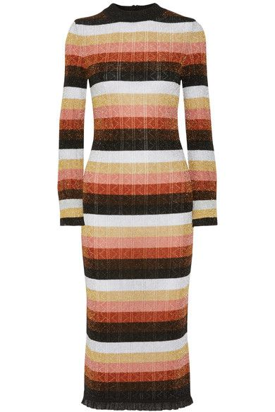 Fendi - Striped Metallic Wool-blend Midi Dress - Orange