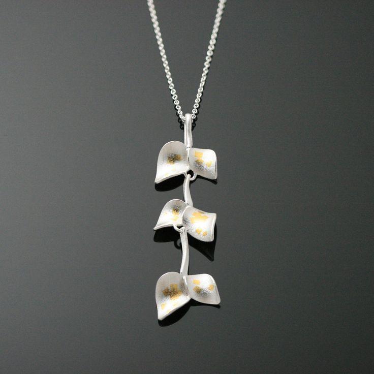 Nuppu pendant / special edition   Chao & Eero shop. 925 o/oo silver, 24K keum-boo gold foil.  #chaoandeero #nuppu #finnishdesign #keumboo #scandinaviandesign