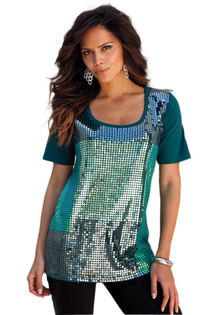 colorblocked sequin by denim 24 7 plus size tops and