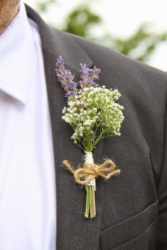 The Groom's Men were all presented with Boutonnieres of Lavender and Gypsophilia tied with a jute bow