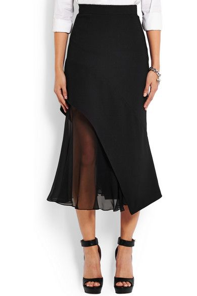 Givenchy | Midi skirt in black crepe and silk-chiffon | NET-A-PORTER.COM