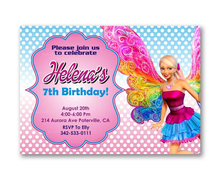 Barbie Polka Dot Pink Girl Colorful Kids Birthday Invitation Party Design