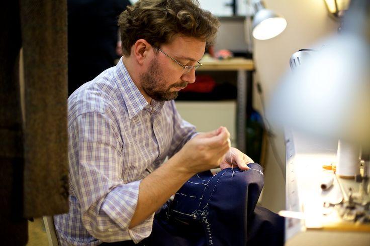 Simon Skottowe in the open-concept workshop overlooking the shop.
