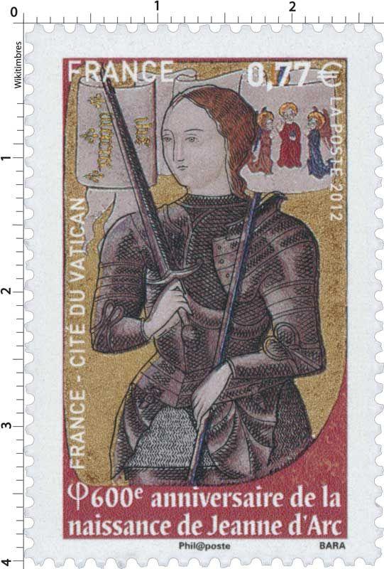 Timbre : 2012 France-Cité du Vatican 6OOe Anniversaire de la naissance de JEANNE D'ARC   WikiTimbres