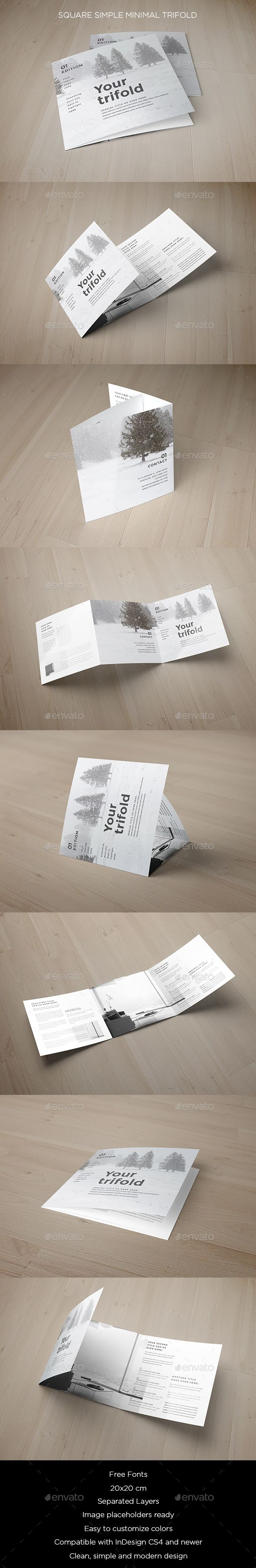 Square Minimal Simple Trifold Brochure Template InDesign INDD. Download here: https://graphicriver.net/item/square-minimal-simple-trifold/17604810?ref=ksioks