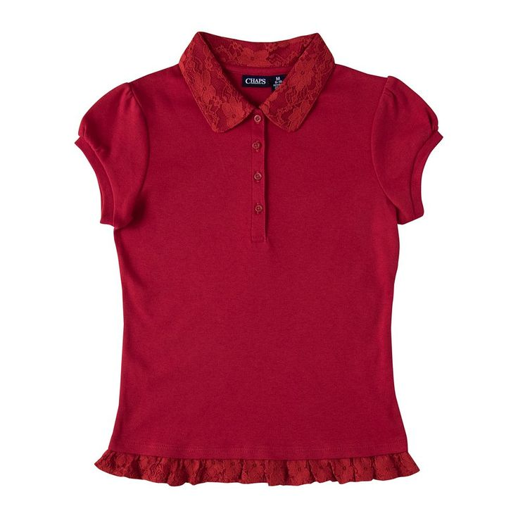 Girls 4-16 Chaps School Uniform Lace Ruffle Polo, Size: 12-14, Red Other
