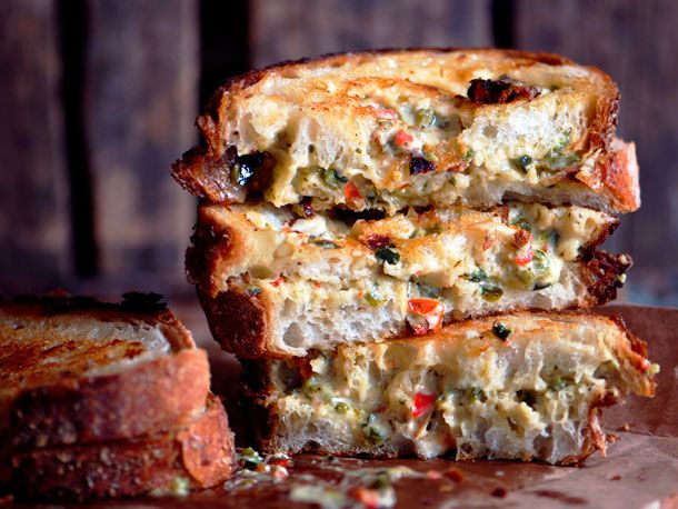 If any sandwich (tortas) can quailfy and Mexican style...This one can! A yummy blend of peppers, spices and cheese.  Grilled Chili-Cheese Spread Sandwiches Yes, please.