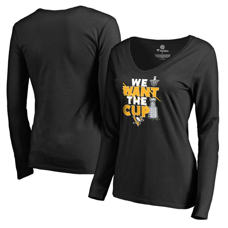 Pittsburgh Penguins Fanatics Branded Women's 2017 NHL Stanley Cup Playoff Participant Blue Line V-Neck Long Sleeve T-Shirt - Black