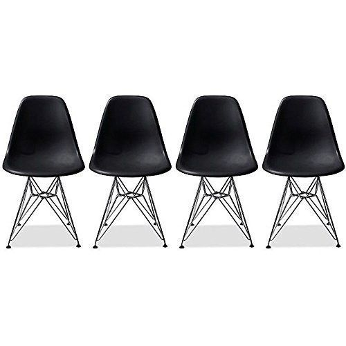 Side-Chair-Eames-Set-of-Four-4-Black-Metal-Legs-Dining-Room-Chairs-Plastic-Seat