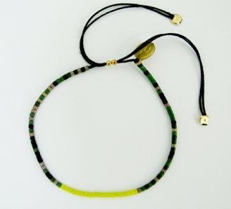 Camoflage friendship bracelet: Green camoflage beaded bracelet on 100% silk thread.  Size adjustable.  $30