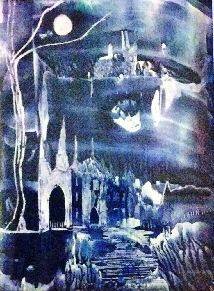 """Land Of The Blue Moon"" Encaustic Painting. Size: A5. For Sale: $60 + $7 postage."