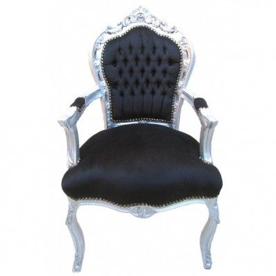 Rococo End Chair - Black on Silver