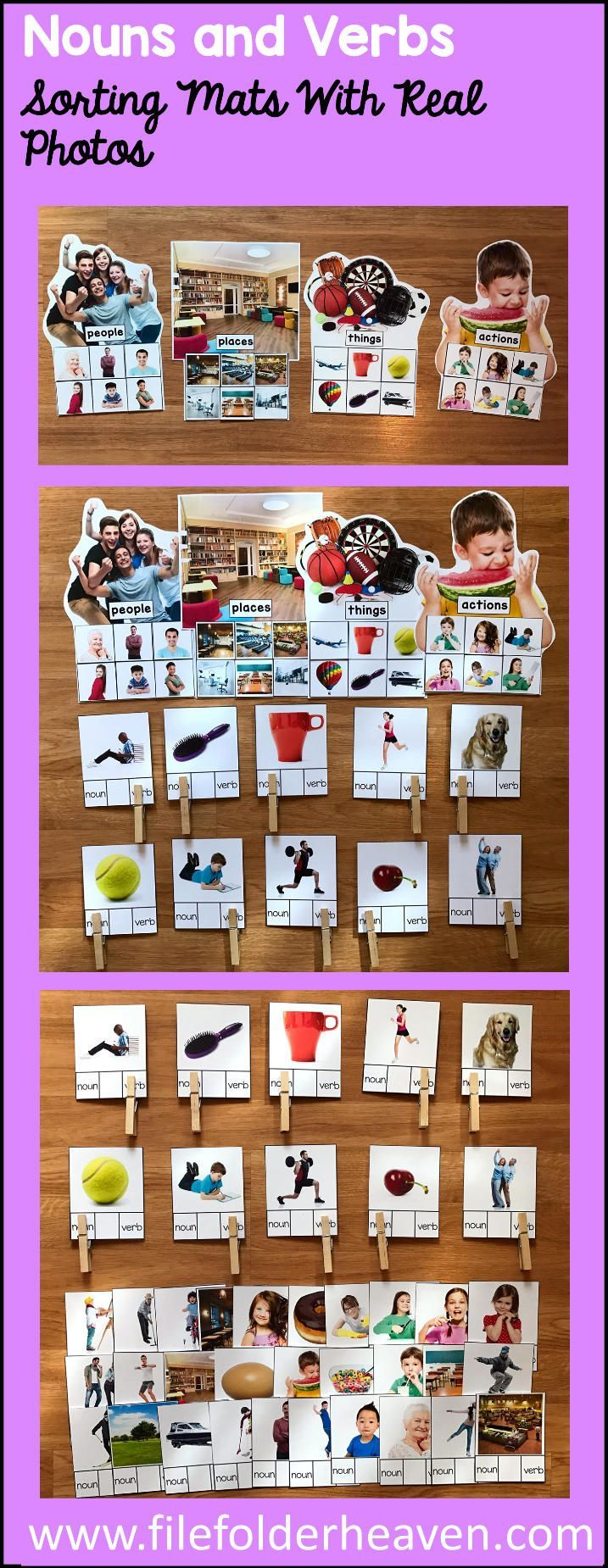 These Nouns and Verbs Sorting Mats w/ Real Photos include 4 unique sorting mats that focus on identifying nouns: people, places, things and verbs (actions). It also includes 40 task cards or clip cards, that students can practice with.  At an independent workstation, center or language group, students complete the following sorting mats or clip cards identifying whether it is a noun or verb.  Sorting Mats In This Set:  people places things actions