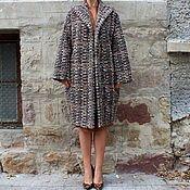 Одежда ручной работы. Ярмарка Мастеров - ручная работа Коричневое женское пальто, кардиган из шерсти с поясом. Handmade.