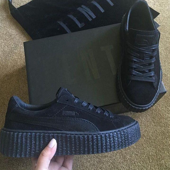 Black Satin PLEASE ALLOW 7 TO 10 BUSINESS DAYS FOR SHIPPING AND PROCESSING Features: - Suede upper - Lace closure for a snug fit - Platform rubber outsole with ridged tooling - PUMA Formstrip at later
