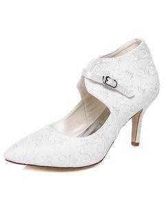 Blanco bordado nupcial bombas de dedo del pie puntiagudo satén para mujer