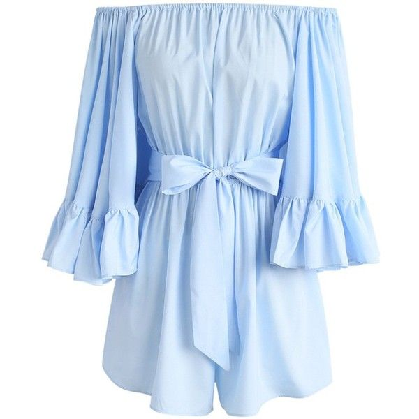 Chicwish For the Frill of it Off-shoulder Playsuit in Blue ($48) ❤ liked on Polyvore featuring jumpsuits, rompers, romper, blue, ruffle romper, fancy romper, bell sleeve rompers, off the shoulder romper and fancy rompers